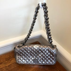 Francesco Biasia  Quilted Silver Satchel